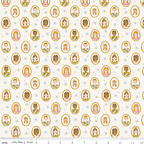 CLEARANCE Guinevere People Cream - Riley Blake Designs - Princess Off White Citrus and Mint - Quilting Cotton Fabric - by the yard