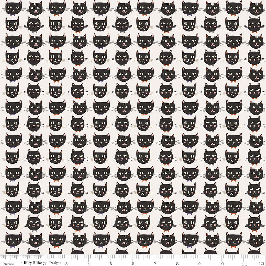 SALE Cats Bats and Jacks Cats Cream - Riley Blake Designs - Halloween Black - Quilting Cotton Fabric