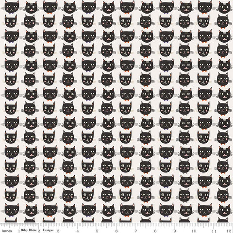 Cats Bats and Jacks Cats Cream - Riley Blake Designs - Halloween Black - Quilting Cotton Fabric - choose your cut