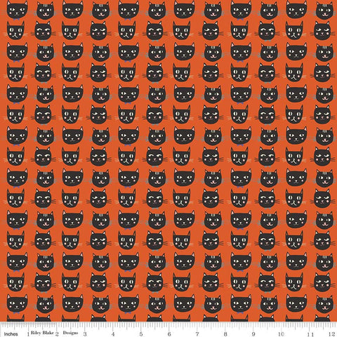 Cats Bats and Jacks Cats Orange Glow In the Dark - Riley Blake Designs - Halloween Black - Quilting Cotton Fabric - choose your cut