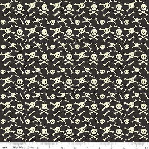Cats Bats and Jacks Skulls Black Glow In the Dark - Riley Blake Designs - Halloween Cream - Quilting Cotton Fabric - choose your cut