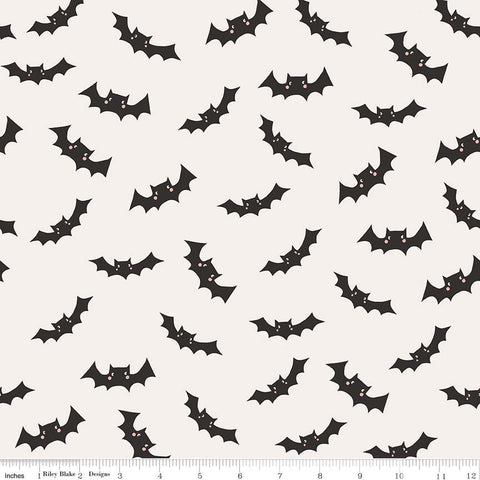 SALE Cats Bats and Jacks Bats Cream - Riley Blake Designs - Halloween Black - Quilting Cotton Fabric - choose your cut