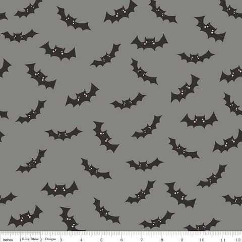 Cats Bats and Jacks Bats Gray Glow In the Dark - Riley Blake Designs - Halloween Black - Quilting Cotton Fabric - choose your cut