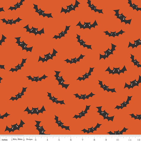 SALE Cats Bats and Jacks Bats Orange Glow In the Dark - Riley Blake Designs - Halloween Black - Quilting Cotton Fabric