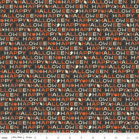 SALE Cats Bats and Jacks Words Black Glow In the Dark - Riley Blake Designs - Halloween Text - Quilting Cotton Fabric - choose your cut