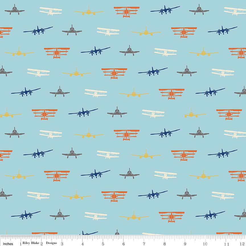 Airplanes Silhouette Blue - Riley Blake Designs - Planes Sky Flying - Jersey KNIT cotton lycra stretch fabric - choose your cut