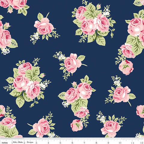Love Story Main Blue - Riley Blake Designs - Floral Flowers Navy Pink - Jersey KNIT cotton lycra stretch fabric - choose your cut