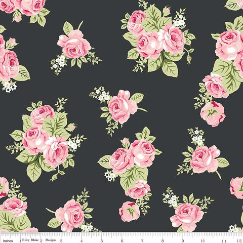 Love Story Main Charcoal - Riley Blake Designs - Floral Flowers Gray Black - Jersey KNIT cotton lycra stretch fabric - choose your cut