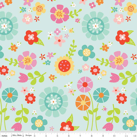 SALE Bloom Where You're Planted Main Aqua - Riley Blake Designs - Blue Floral Flowers - Quilting Cotton Fabric - choose your cut