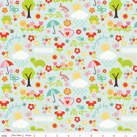 "SALE Bloom Where You're Planted April Showers Aqua - Riley Blake Designs - Blue Flowers - Quilting Cotton Fabric - 1 Yard 4"" end of bolt"