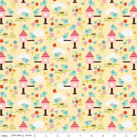 Bloom Where You're Planted Birds Yellow - Riley Blake Designs - Birdhouses - Quilting Cotton Fabric
