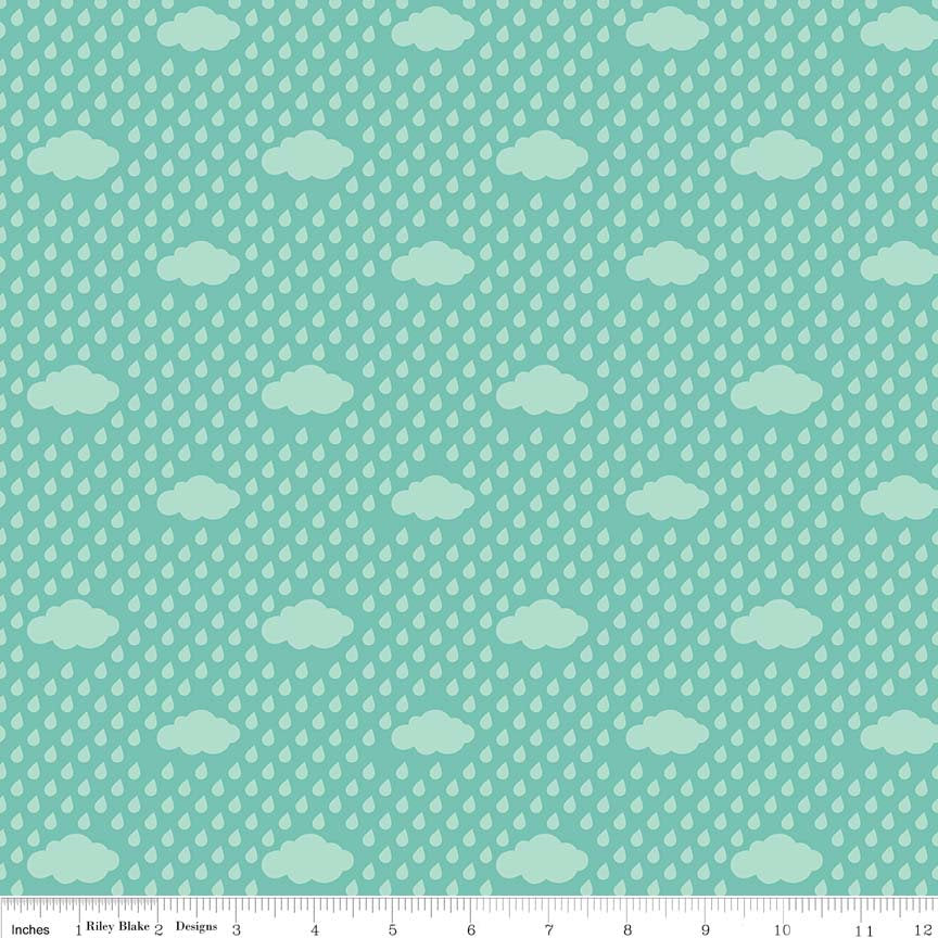 "SALE Bloom Where You're Planted Rain Clouds Aqua - Riley Blake Designs - Blue Green - Quilting Cotton Fabric - 1 yard 28"" end of bolt piece"