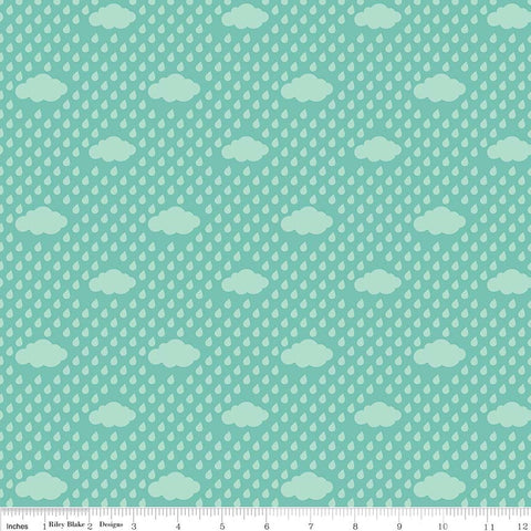 SALE Bloom Where You're Planted Rain Clouds Aqua - Riley Blake Designs - Blue Green - Quilting Cotton Fabric