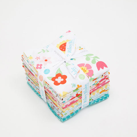 Bloom Where You're Planted Fat Quarter Bundle 18 pieces - Riley Blake Designs - Pre Cut Precut - Floral Birds - Quilting Cotton Fabric