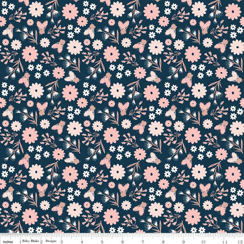 Blush Floral Blue SPARKLE - Riley Blake Designs - Rose Gold Flowers Pink Navy Metallic - Quilting Cotton Fabric - choose your cut