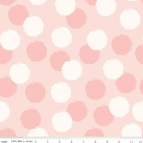 SALE Blush Puffs Pink - Riley Blake Designs - Cream Polka Dots - Quilting Cotton Fabric