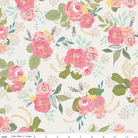 Grandale Main Cream - Riley Blake Designs - Off white Pink Floral Flowers - Quilting Cotton Fabric - choose your cut