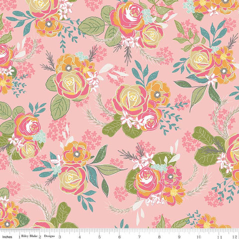 Grandale Main Pink - Riley Blake Designs - Floral Flowers - Quilting Cotton Fabric - choose your cut
