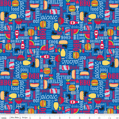 Patriotic Picnic Main Blue - Riley Blake Designs - Independence Day USA Food - Quilting Cotton Fabric - choose your cut