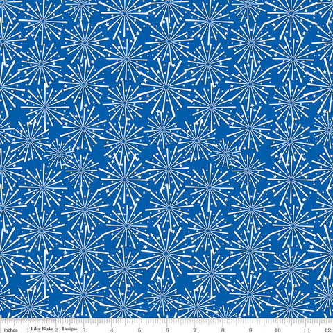 Patriotic Picnic Fireworks Blue - Riley Blake Designs - Independence Day USA White - Quilting Cotton Fabric - choose your cut