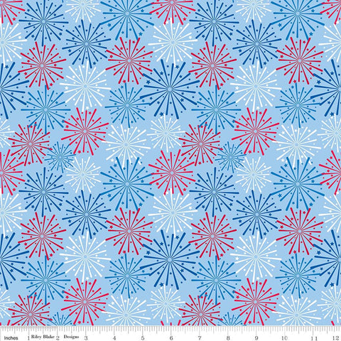 Patriotic Picnic Fireworks Light Blue - Riley Blake Designs - Independence Day USA Red White - Quilting Cotton Fabric - choose your cut