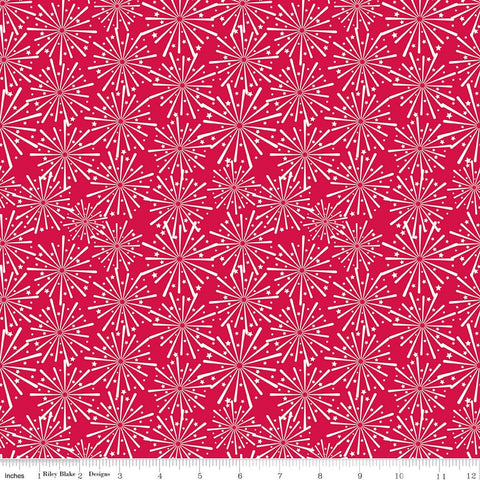Patriotic Picnic Fireworks Red - Riley Blake Designs - Independence Day USA White - Quilting Cotton Fabric - choose your cut