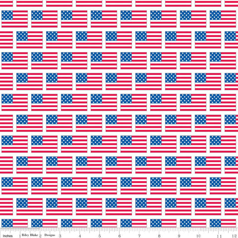 Patriotic Picnic Flags White - Riley Blake Designs - American Independence Day USA Blue Red - Quilting Cotton Fabric - choose your cut