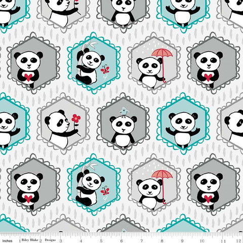 Panda Love Main Light Gray - Riley Blake Designs - Grey Pandas - Quilting Cotton Fabric - choose your cut