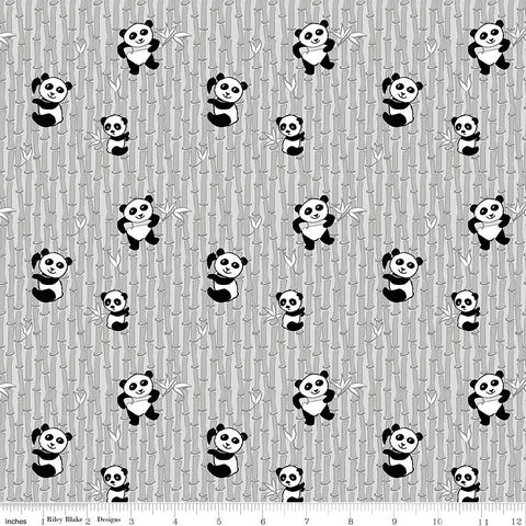 Panda Love Bamboo Light Gray - Riley Blake Designs - Grey Pandas - Quilting Cotton Fabric - choose your cut