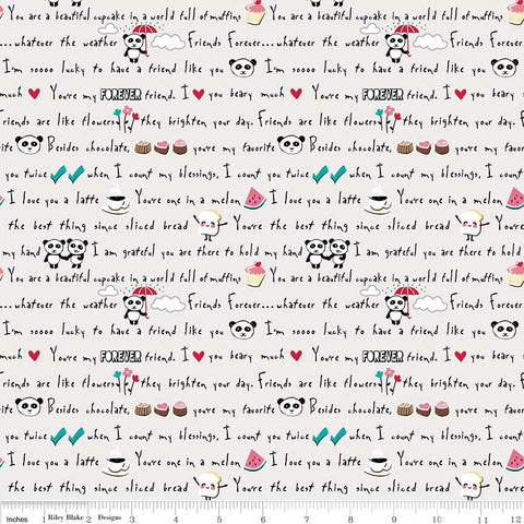 Panda Love Words Light Gray - Riley Blake Designs - Grey Pandas Text - Quilting Cotton Fabric - choose your cut