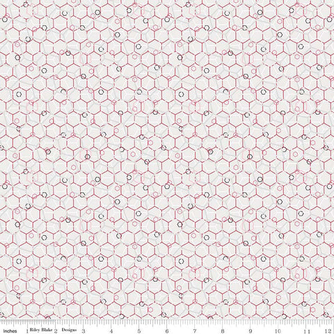 SALE Panda Love Hexies Light Gray - Riley Blake Designs - Grey Geometric - Quilting Cotton Fabric - choose your cut