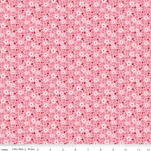 Panda Love Flowers Pink - Riley Blake Designs - Floral - Quilting Cotton Fabric - choose your cut