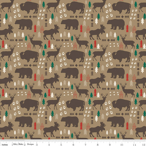 SALE High Adventure 2 Main Tan - Riley Blake Designs - Brown Moose and Bears - Quilting Cotton Fabric