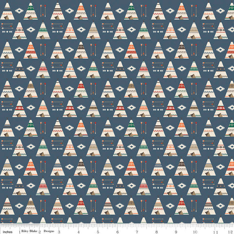 High Adventure 2 Teepee Blue - Riley Blake Designs - Quilting Cotton Fabric
