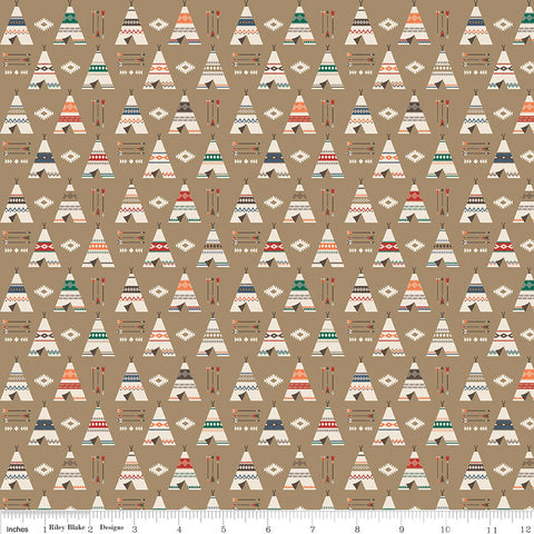 "High Adventure 2 Teepee Tan - Riley Blake Designs - Brown - Quilting Cotton Fabric - 1 Yard 29"" end of bolt"