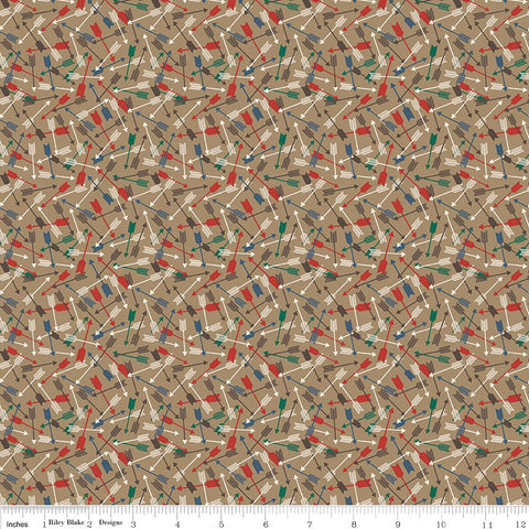 High Adventure 2 Arrows Tan - Riley Blake Designs - Brown - Quilting Cotton Fabric - end of bolt pieces