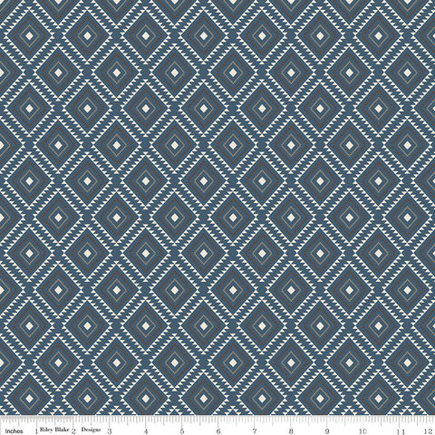 "High Adventure 2 Aztec Blue - Riley Blake Designs - Quilting Cotton Fabric - 1 yard 17"" end of bolt piece"