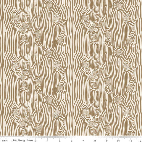 High Adventure 2 Woodgrain Tan - Riley Blake Designs - Brown Wood - Quilting Cotton Fabric