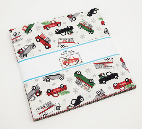 "Christmas Delivery Layer Cake 10"" Stacker Bundle - Riley Blake Designs - 42 piece Precut - Pre cut - Quilting Cotton Fabric"