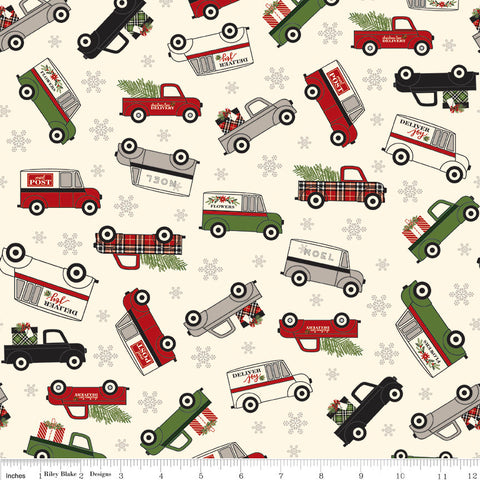 Christmas Delivery Main Cream - Riley Blake Designs - Delivery Trucks - Quilting Cotton Fabric - choose your cut