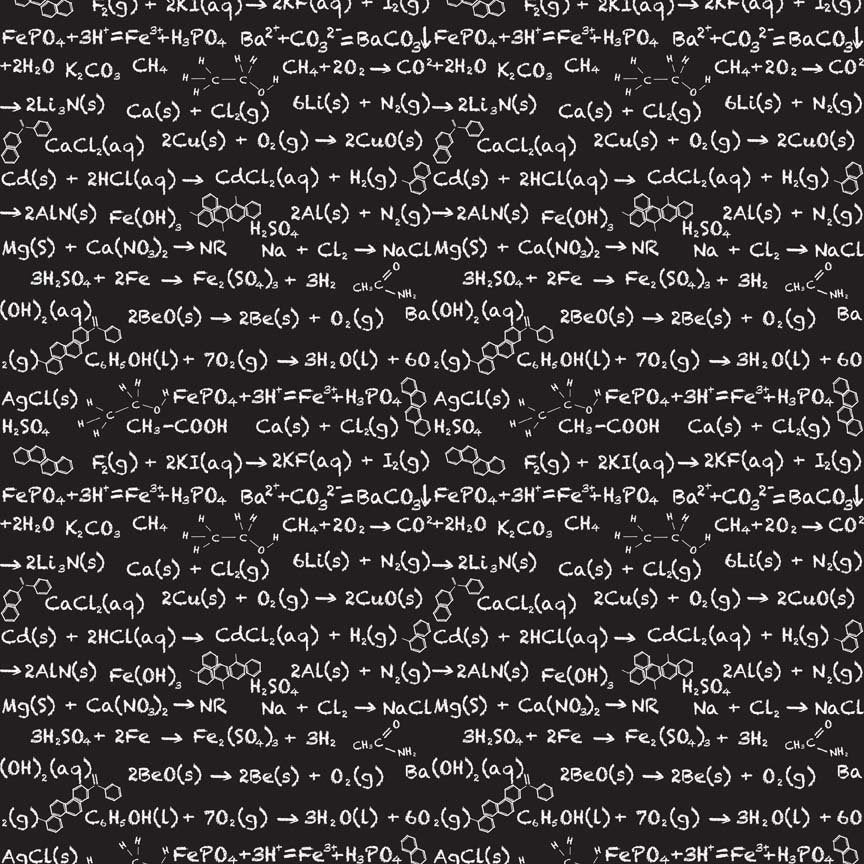"Equation Black Novelty - Riley Blake Designs - Black and White Science Math - Quilting Cotton Fabric - 25"" end of bolt"
