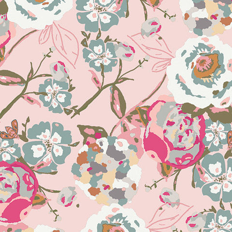 Garden Rocket - Bachelorette Fusions - Art Gallery - Floral pink - Jersey KNIT cotton lycra stretch fabric