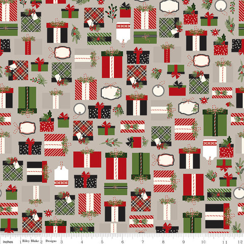 SALE Christmas Delivery Presents Gray - Riley Blake Designs - Quilting Cotton Fabric