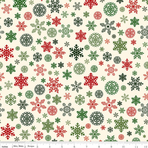 Christmas Delivery Snowflakes Cream - Riley Blake Designs - Quilting Cotton Fabric - choose your cut