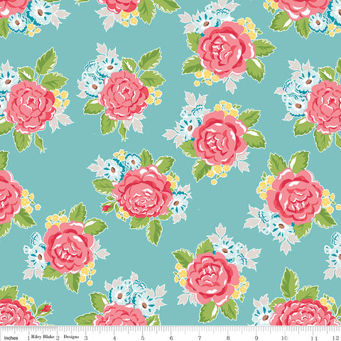 Hello Lovely Main Aqua - Riley Blake Designs - Blue Floral Flowers - Quilting Cotton Fabric - choose your cut