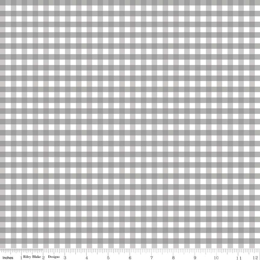 "Gray and White Medium PRINTED Gingham 1/4"" Quarter Inch - Riley Blake Designs - Checker - Quilting Cotton Fabric - choose your cut"