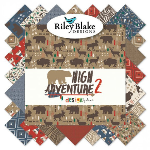"High Adventure 2 Collection - Charm Pack 5"" Stacker Bundle - Riley Blake Designs - 42 piece Precut Pre cut - Quilting Cotton Fabric"