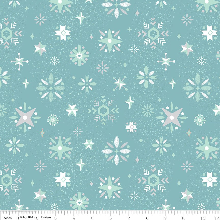 Way Up North Snowflake Blue - Riley Blake Designs - Blue Christmas - Quilting Cotton Fabric - choose your cut