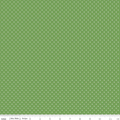 SALE White on Clover Green Swiss Dots - Riley Blake Designs - Polka Dot - Quilting Cotton Fabric