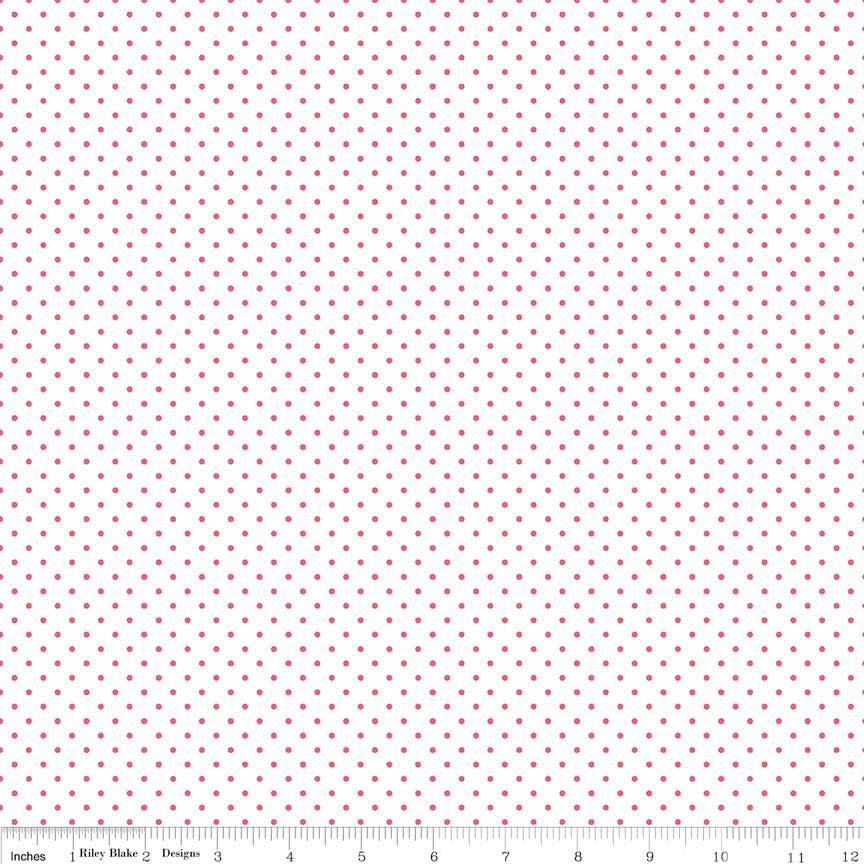 Raspberry Pink Swiss Dots on White - Riley Blake Designs - Dark Pink Polka Dot - Quilting Cotton Fabric